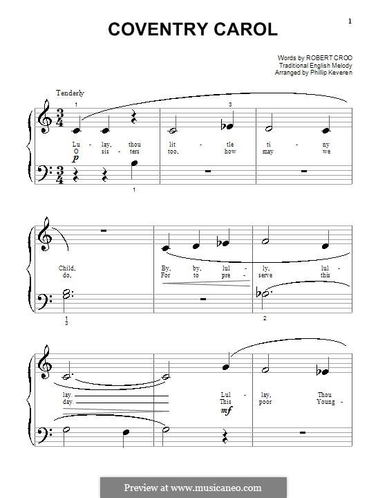 Coventry Carol: Für Klavier (sehr leichte Fassung) by folklore