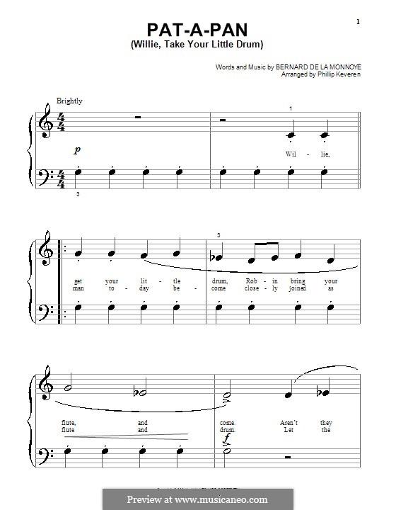 Pat-a-Pan (Willie, Take Your Little Drum): Für Klavier (sehr leichte Fassung) by Bernard de la Monnoye