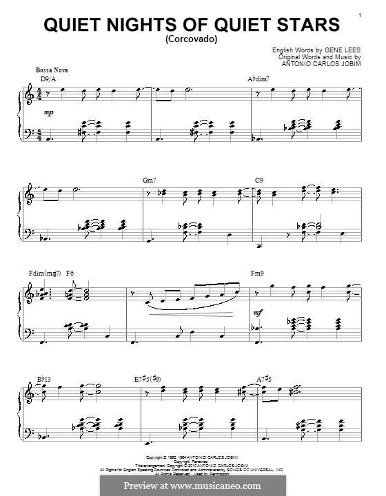 Quiet Nights of Quiet Stars (Corcovado): Für Klavier (jazz version) by Antonio Carlos Jobim