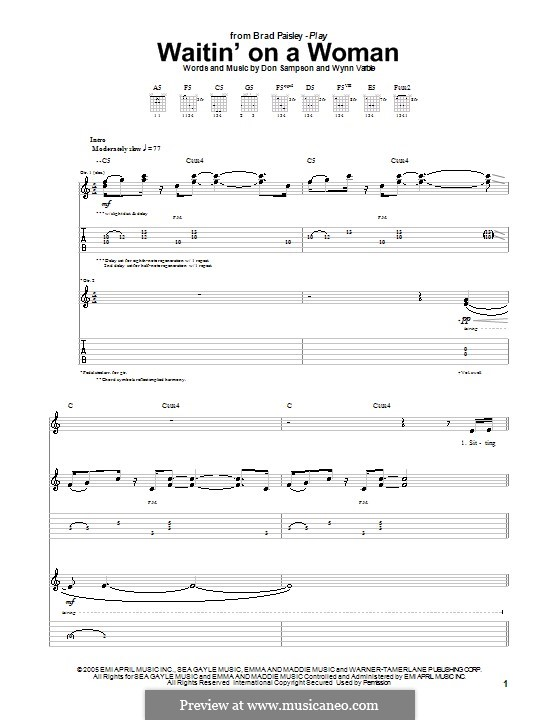 Waitin' on a Woman: Für Gitarre mit Tab by Don Sampson, Wynn Varble