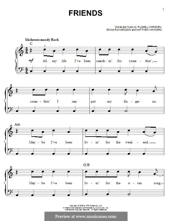 Friends (Band of Skulls): Für Klavier, leicht by Emma Richardson, Matthew Hayward, Russell Marsden