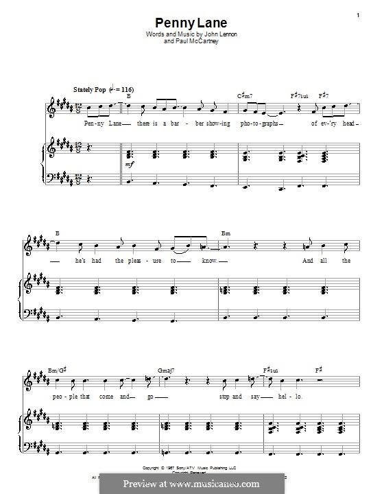 Penny Lane (The Beatles): Für Stimme und Klavier (oder Gitarre) by John Lennon, Paul McCartney