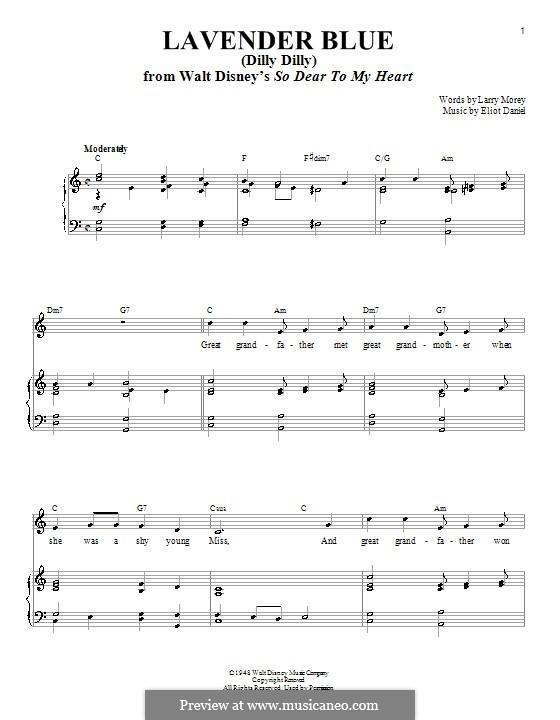 Lavender Blue (Dilly Dilly): Für Stimme und Klavier (oder Gitarre) by Eliot Daniel, Larry Morey