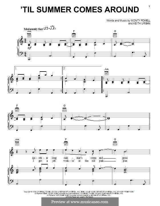 'Til Summer Comes Around (Keith Urban): Für Stimme und Klavier (oder Gitarre) by Monty Powell