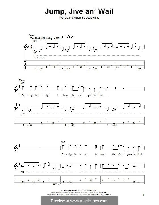 Jump, Jive an' Wail: Für Gitarre mit Tab by Louis Prima