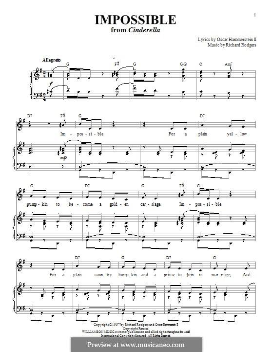 Impossible (from Cinderella): Für Stimme mit Klavier oder Gitarre by Richard Rodgers