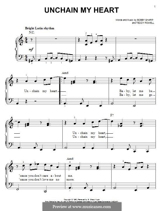Unchain My Heart (Ray Charles): Für Klavier, leicht by Bobby Sharp, Teddy Powell