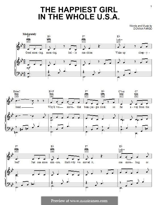 The Happiest Girl in the Whole U.S.A.: Für Stimme und Klavier (oder Gitarre) by Donna Fargo