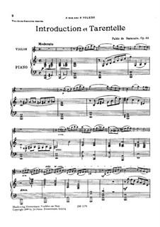 Introduktion und Tarantella , Op.43: Partitur für zwei Interpreten, Solostimme by Pablo de Sarasate
