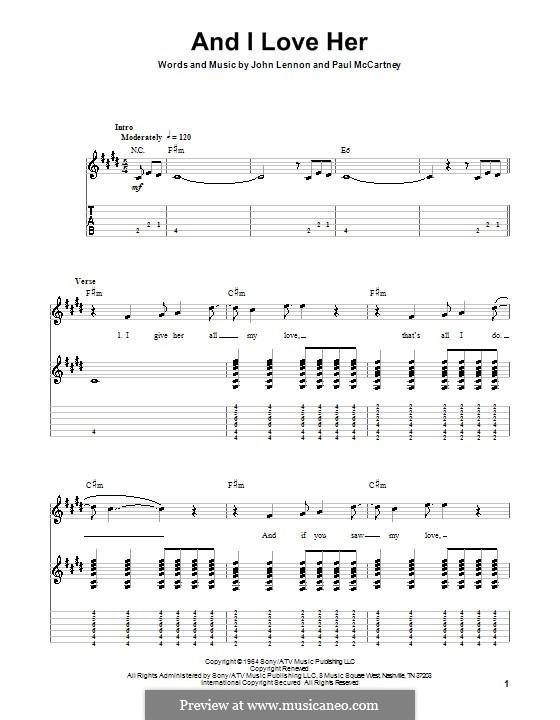 And I Love Her (The Beatles): Für Gitarre mit Tabulatur by John Lennon, Paul McCartney