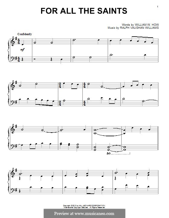 For All the Saints: Für Klavier by Ralph Vaughan Williams