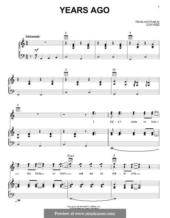 Years Ago (Dailey & Vincent): Für Stimme und Klavier (oder Gitarre) by Donald Reid