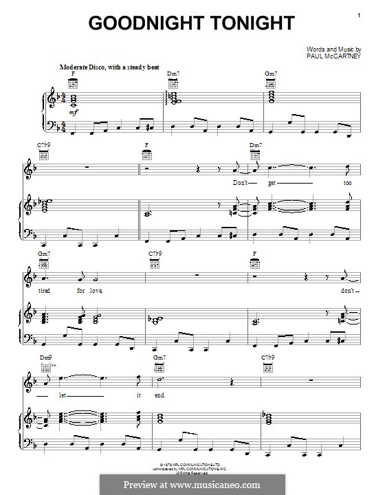 Goodnight Tonight: Für Stimme und Klavier (oder Gitarre) by Paul McCartney