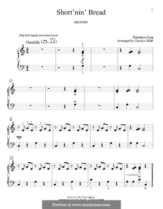 Short'nin' Bread: Für Klavier, vierhändig by folklore