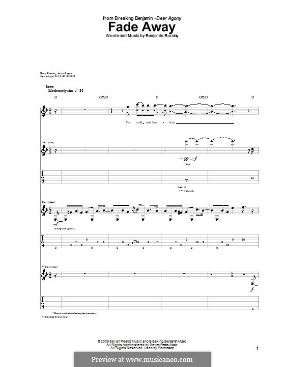 Fade Away (Breaking Benjamin): Für Gitarre mit Tabulatur by Benjamin Burnley