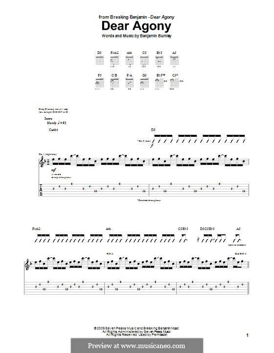 Dear Agony (Breaking Benjamin): Für Gitarre mit Tabulatur by Benjamin Burnley