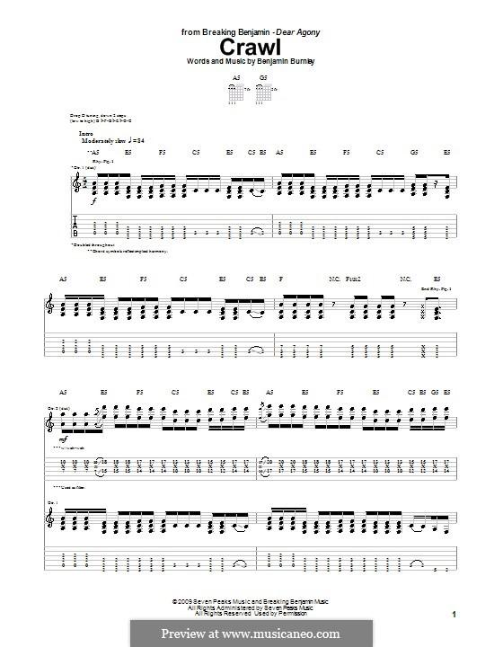Crawl (Breaking Benjamin): Für Gitarre mit Tabulatur by Benjamin Burnley