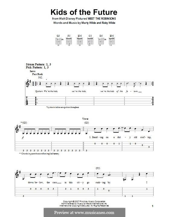 Kids of the Future (Jonas Brothers): Für Gitarre (Sehr leichte Fassung) by Marty Wilde, Ricky Wilde