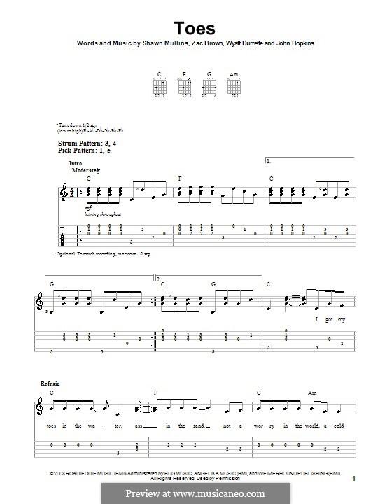 Toes (Zac Brown Band): Für Gitarre (Sehr leichte Fassung) by John Driskell Hopkins, Shawn Mullins, Wyatt Durrette, Zac Brown