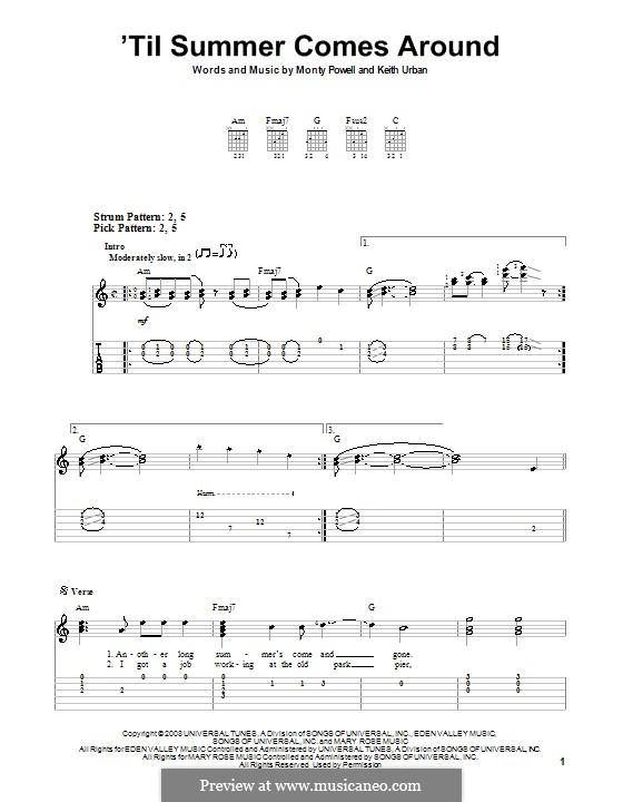 'Til Summer Comes Around (Keith Urban): Für Gitarre (Sehr leichte Fassung) by Monty Powell