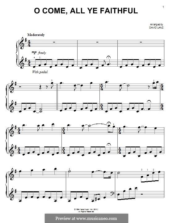 Nun freut euch, ihr Christen, für Klavier: Version für leichtes Klavier by John Francis Wade