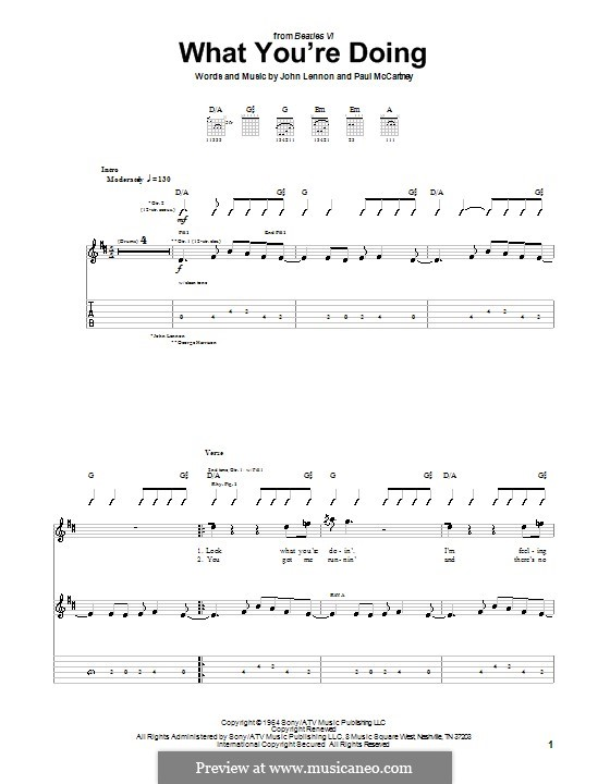 What You're Doing (The Beatles): Für Gitarre mit Tabulatur by John Lennon, Paul McCartney