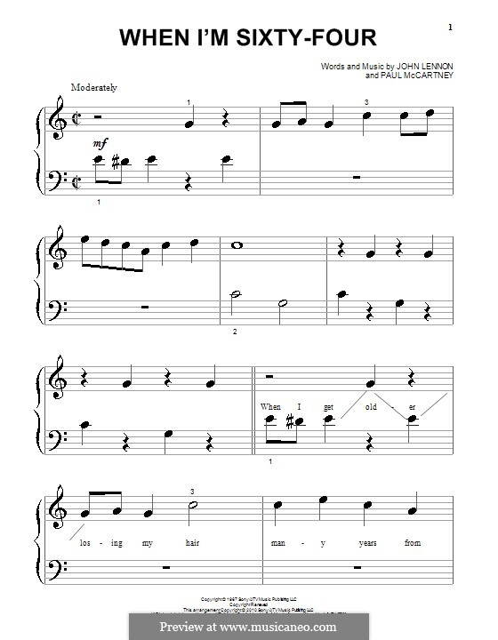 When I'm Sixty-Four (The Beatles), for One Instrument: Für Klavier (sehr leichte Fassung) by John Lennon, Paul McCartney