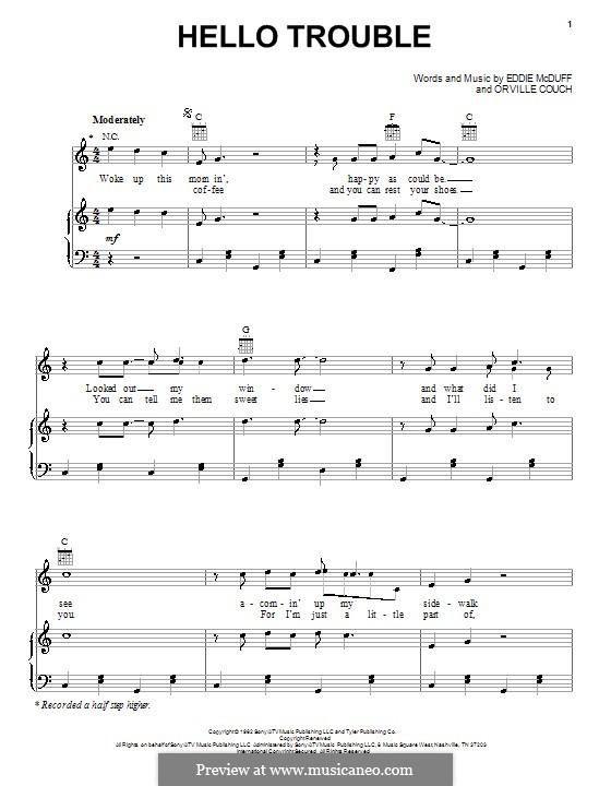 Hello Trouble (Buck Owens): Für Stimme und Klavier (oder Gitarre) by Eddie McDuff, Orville Couch