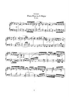 Stück für Klavier in A-Dur, D.604: Für einen Interpreten by Franz Schubert