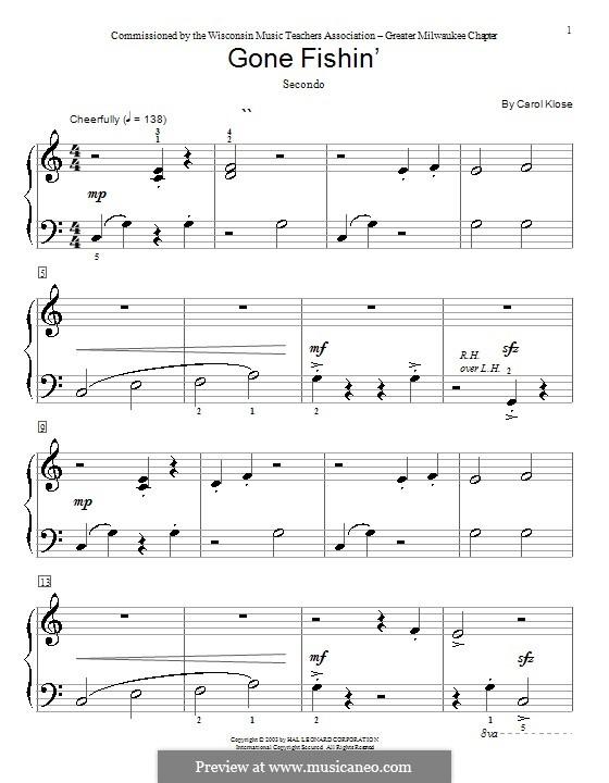 Gone Fishin': Für Klavier, vierhändig by Carol Klose