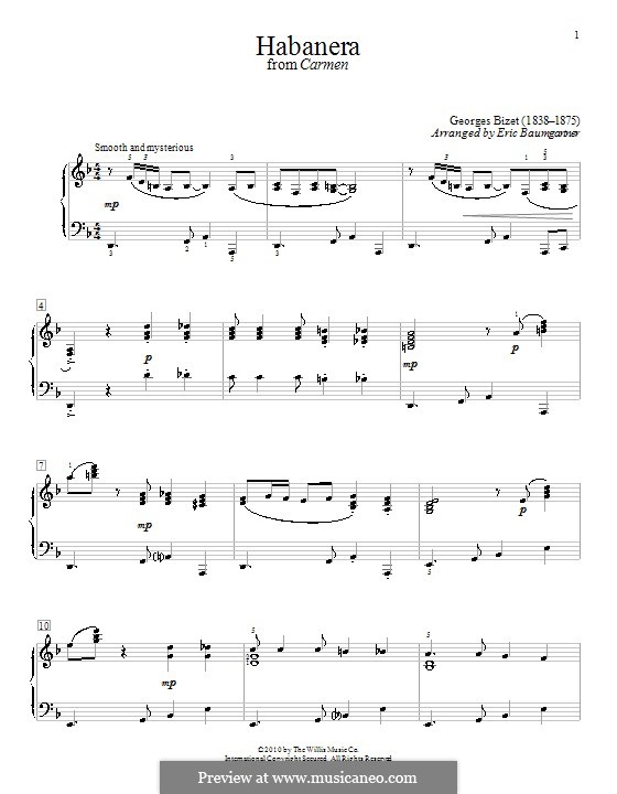 Habanera: For piano. Version by Eric Baumgartner by Georges Bizet