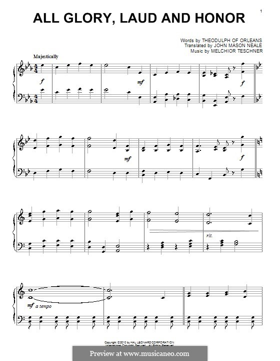 All Glory, Laud and Honor: Für Klavier by Melchior Teschner