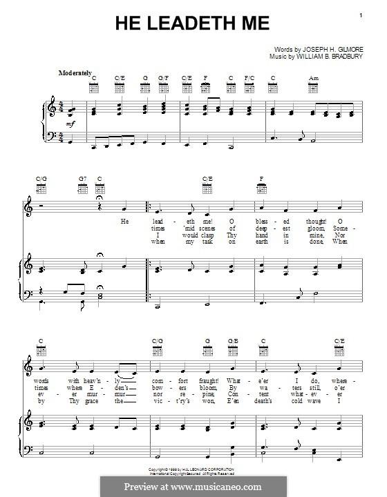 He Leadeth Me: Für Stimme und Klavier (oder Gitarre) by William Batchelder Bradbury