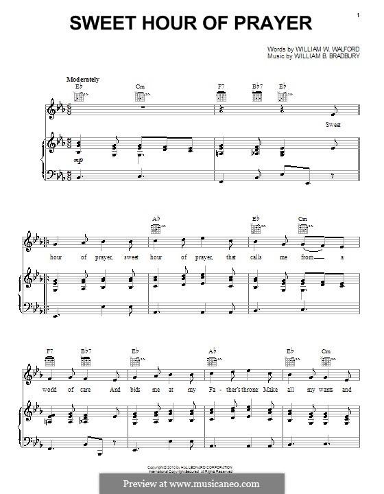 Sweet Hour of Prayer: Für Stimme und Klavier (oder Gitarre) by William Batchelder Bradbury
