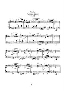 Deutscher Tanz für Klavier, D.722: Für einen Interpreten by Franz Schubert