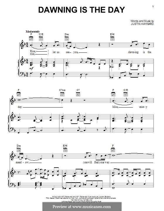 Dawning Is the Day (The Moody Blues): Für Stimme und Klavier (oder Gitarre) by Justin Hayward
