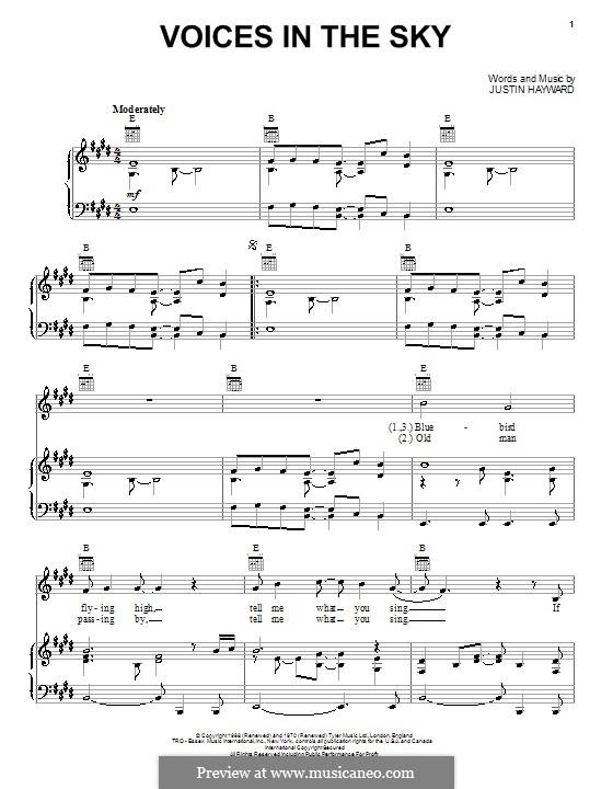 Voices in the Sky (The Moody Blues): Für Stimme und Klavier (oder Gitarre) by Justin Hayward