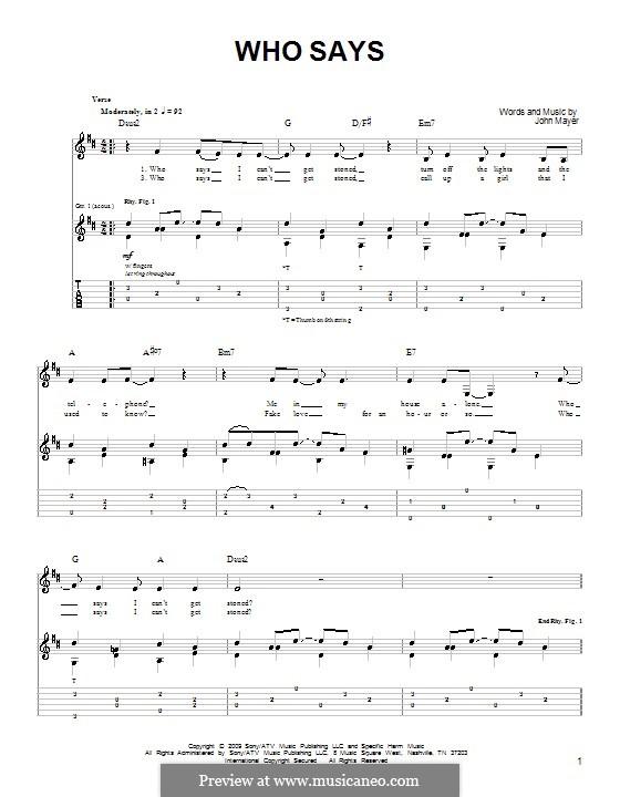 Who Says: Für Gitarre (Sehr leichte Fassung) by John Mayer