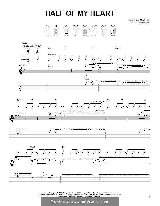 Half of My Heart (John Mayer featuring Taylor Swift): Für Gitarre (Sehr leichte Fassung) by John Mayer