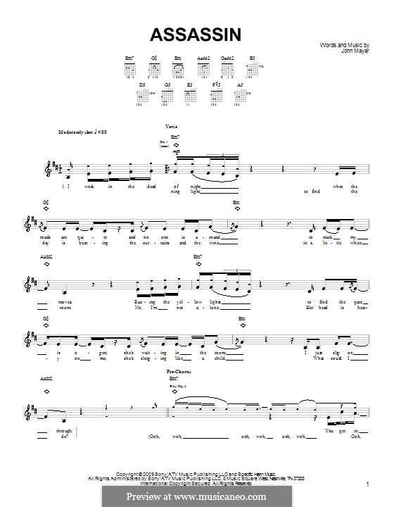 Assassin: Für Gitarre (Sehr leichte Fassung) by John Mayer
