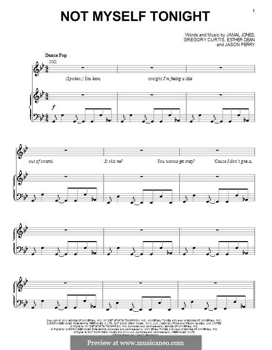 Not Myself Tonight (Christina Aguilera): Für Stimme und Klavier (oder Gitarre) by Esther Dean, Gregory G. Curtis, Jamal Jones, Jason Perry