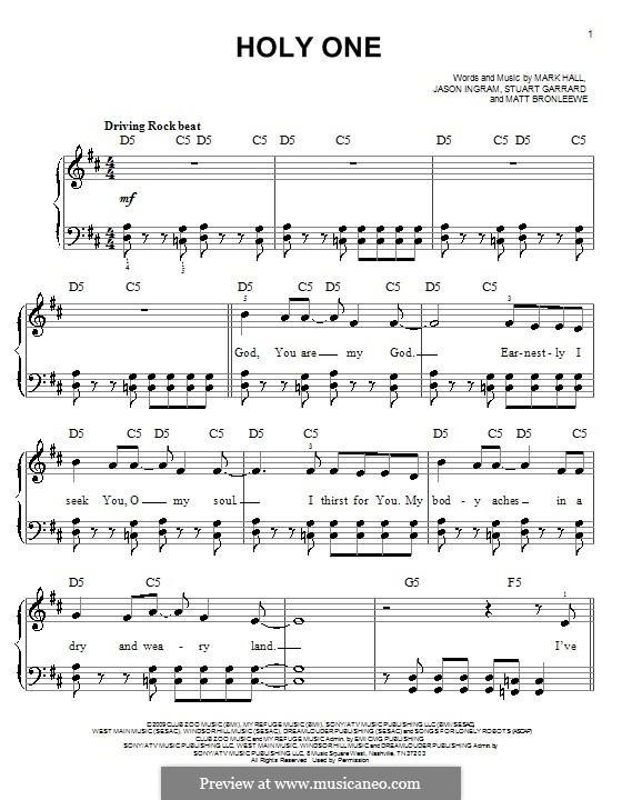 Holy One (Casting Crowns): Für Klavier, leicht by Jason David Ingram, Mark Hall, Matt Bronleewe, Stuart Garrard