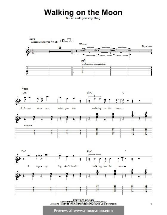 Walking on the Moon (The Police): Für Gitarre mit Tabulatur by Sting