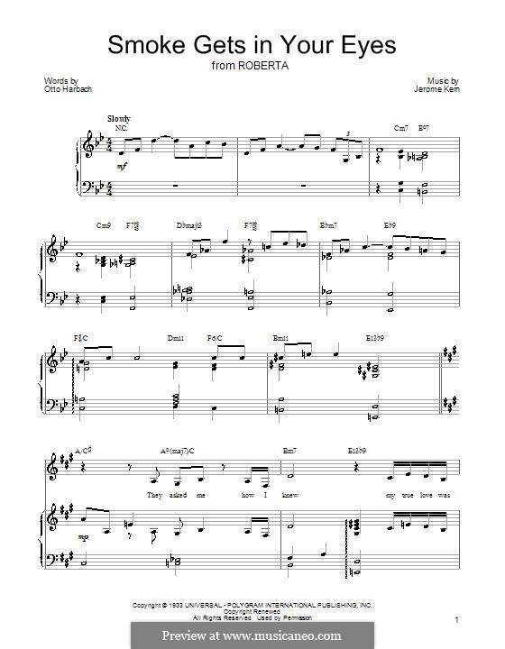Smoke Gets in Your Eyes (from 'Roberta'): Für Stimme mit Klavier oder Gitarre (Barbra Streisand) by Jerome Kern