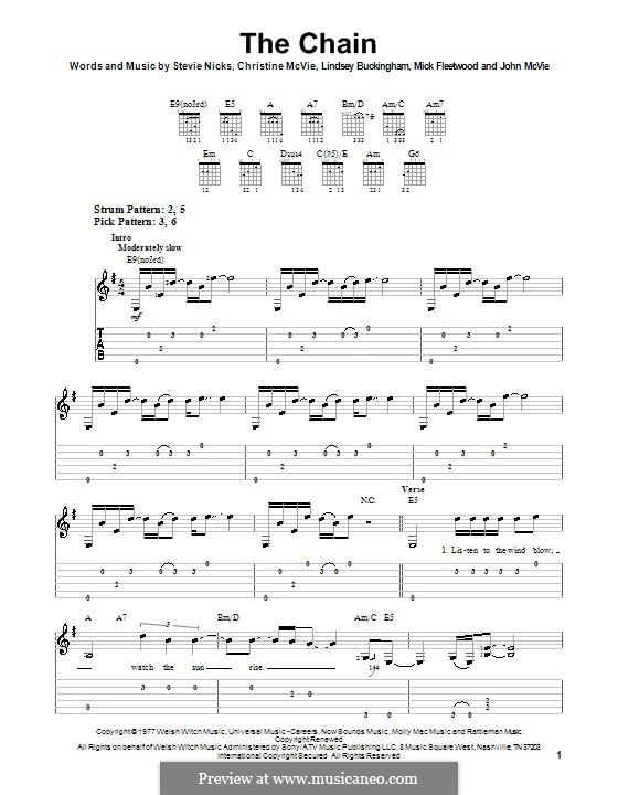 The Chain (Fleetwood Mac): Für Gitarre (Sehr leichte Fassung) by Christine McVie, John McVie, Lindsey Buckingham, Mick Fleetwood, Stevie Nicks