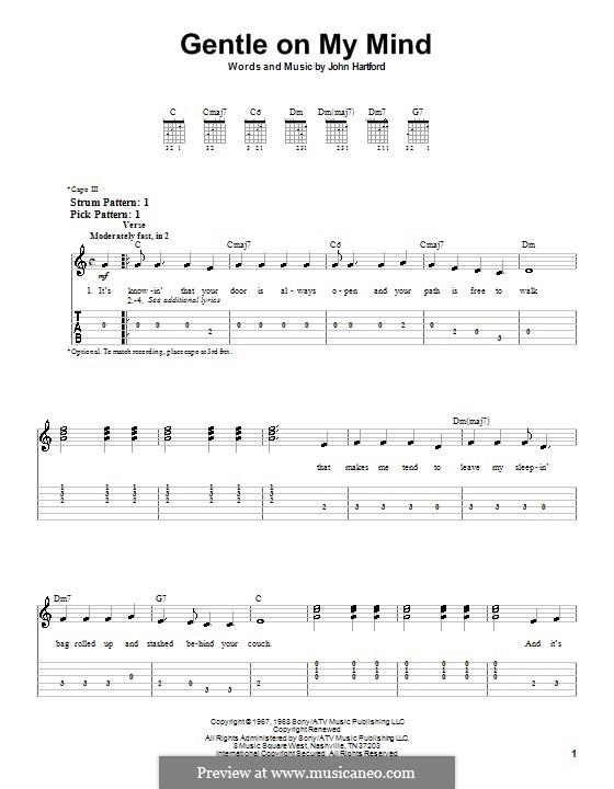 Gentle On My Mind: Für Gitarre (Sehr leichte Fassung) by John Hartford