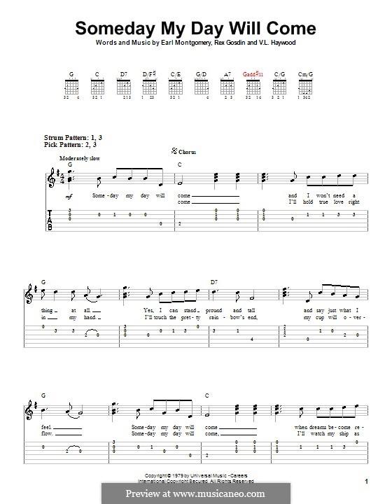 Someday My Day Will Come (George Jones): Für Gitarre (Sehr leichte Fassung) by Earl Montgomery, Rex Gosdin, V. L. Haywood