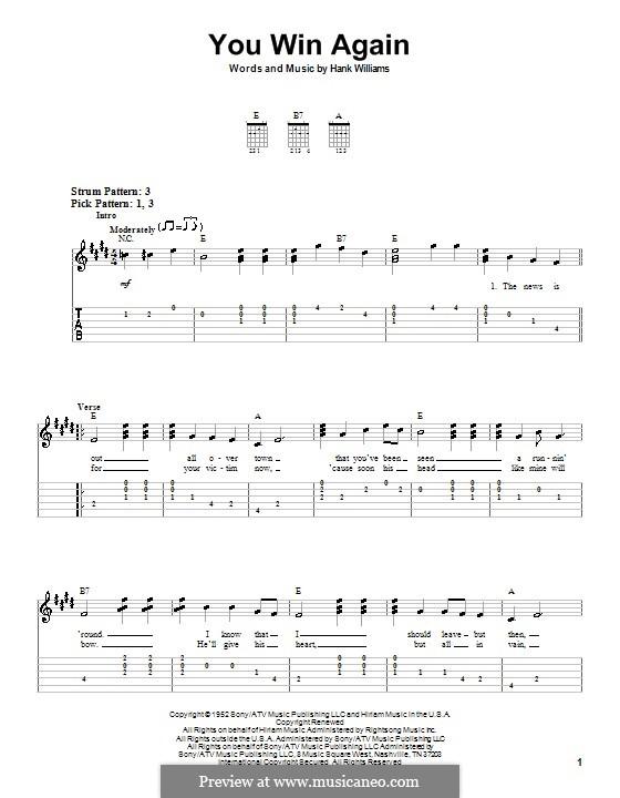 You Win Again: Für Gitarre (Sehr leichte Fassung) by Hank Williams
