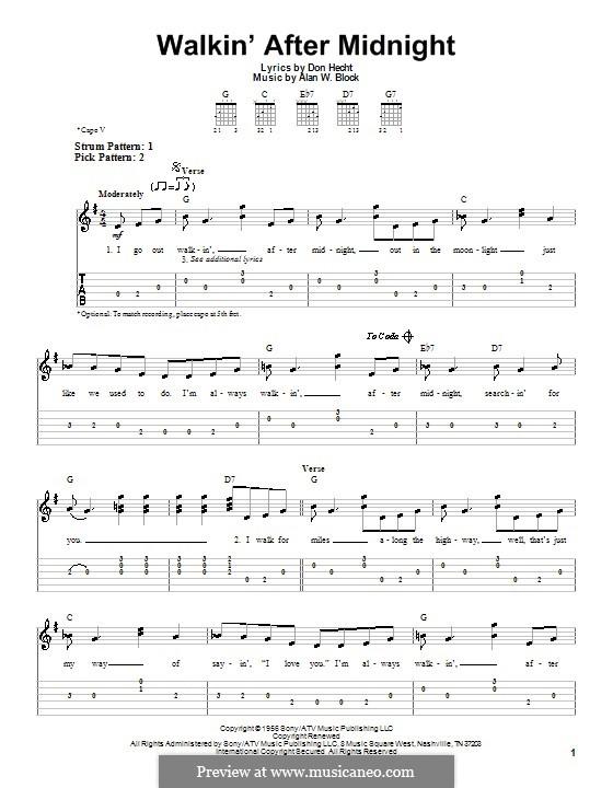 Walkin' After Midnight (Patsy Cline): Für Gitarre (Sehr leichte Fassung) by Alan W. Block