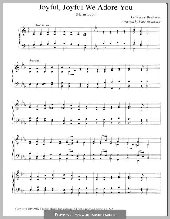Ode an die Freude: Version for organ by Ludwig van Beethoven